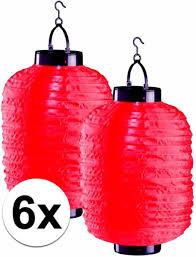 6x Rode Solar Lampionnen 20 X 35 Cm Zonne Energie Lampion