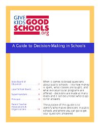 a guide to decision making in schools