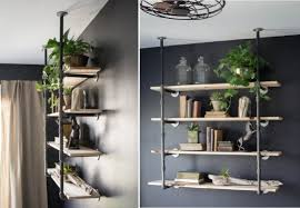 Home Organization:Unqiue Industrial Pipe Floating Bookcase On Black Wall  How To Decorate Bookcases with
