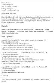 Resume Templates: High School Football Coach