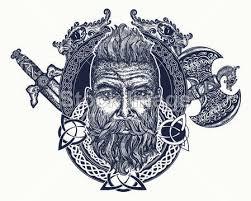 Vektorová Grafika Viking Tetování Symbol Síly Odvahy Skandinávské