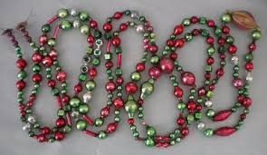 antique vintage red green rare shaped beads mercury glass bead garland