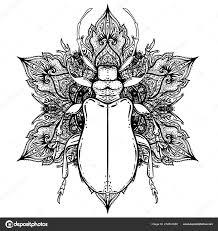 черный белый жук над сакральной геометрии изолированные векторные