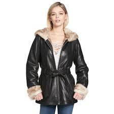 details about wilsons leather womens vintage belted leather jacket w fauxfur lining