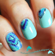 Indian Ocean Polish: Turquoise and Ocean Coloured Ikat Nail Art