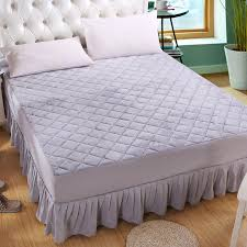 5 Colors plain flannel quilted bed skirt soft ruffles bedspread ... & 5 Colors plain flannel quilted bed skirt soft ruffles bedspread bed cover  for single double bed twin full queen king size-in Bed Skirt from Home &  Garden on ... Adamdwight.com