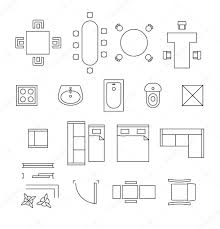 floor plan furniture vector. Furniture Linear Vector Symbols. Floor Plan Icons Set \u2014 Stock B