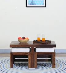 wood coffee table set. Stigen Solid Wood Coffee Table Set With Two Stool In Provincial Teak Finish By Woodsworth