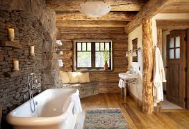 rustic log shelves bathroom with single sconces stone wall wish cabin rugs for 0
