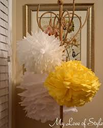 Paper Flower Balls To Hang From Ceiling Diy Hanging Tissue Ball Tutorial My Love Of Style My