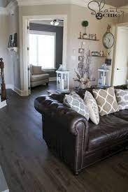 dark gray living room with brown