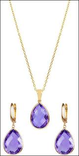 pear amethyst 14kt yellow gold earring and necklace set