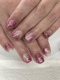 Gel Nail Designs With Diamonds Custom Glitter Gel Nails Light Elegance Diamond Pink Satin