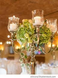 Kerzenständer Auf Den Hochzeitstischen Mit Hortensien Rosen