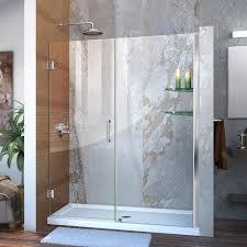 DreamLine Unidoor 58-in to 59-in W Frameless Chrome Hinged Shower Door