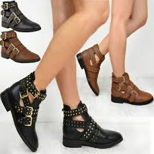 Details About Womens Black Punk Biker Flat Ankle Boots Rock Strappy Studded Ladies New Size