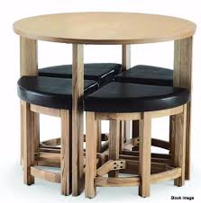 stowaway round dining table and 4 stools set in oak rrp 149