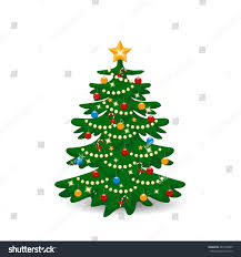Decorating Christmas Tree With Balls Vector Illustration Decorated Christmas Tree Balls Stock Vector 59