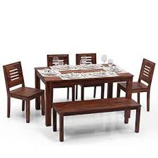 wooden dining furniture. Arabia - Capra 6 Seater Dining Table Set (With Bench) (Teak Finish) Wooden Furniture 1