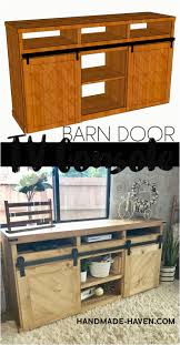 diy tv stand with sliding doors diy sliding barn door tv console for the home living