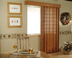 decorations interior marvelous red fabric over valance and curtains patio door window treatments with rounded wooden 1400946601942i blinds sliding