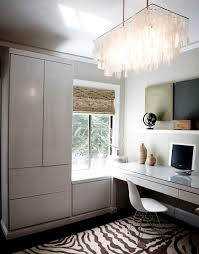 the right chandelier can save a spare contemporary styled home office from feeling overly sterile