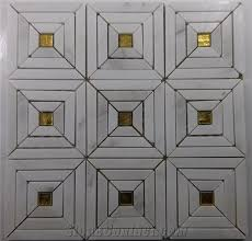 white carrara marble strip mosaic mix gold glass backsplash tile
