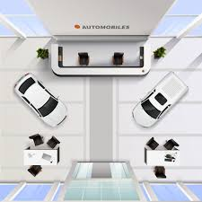Auto Mobile Office Isometric Top View Office Interior Of Automobile Salon With