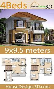 House Design 3d 9x9.5 with 4 Bedrooms - House Design 3d in 2020 | Duplex  house design, House construction plan, Bungalow style house plans