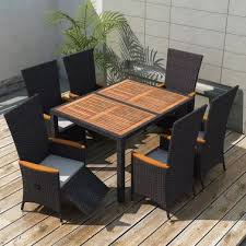 vidaxl outdoor dining set 13 pieces black poly rattan acacia wood l 1 11