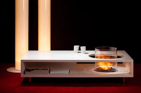 modern low coffee table with black granite and fire burner with
