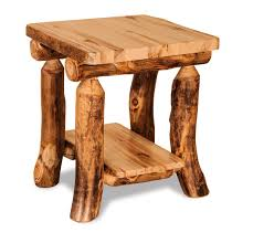 log rustic furniture amish. Amish Rustic Log End Table With Shelf Furniture C