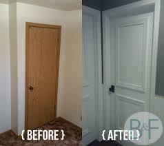 Interior Door paint interior doors photographs : Hollow core door makeover with paint, trim and new knobs! Bronco ...