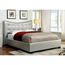 furniture of america salim twin tufted leather bed in silver