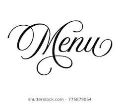 The Word Menu Elegant Typography Wedding Word Art Text Stock Vector