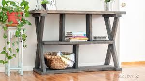 diy rustic furniture. Easy DIY X-leg Console Table With Plans! Diy Rustic Furniture