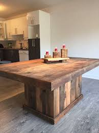 rustic style table made by hand from barn wood by designdantan cool idea for kitchen island