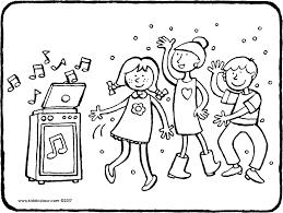 Dansende Kinderen Kleurplaat Kleurprent Tekening 01k Jarig Feest