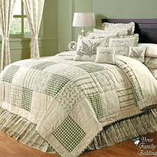 quilts bedding country green ivory fl patchwork twin queen cal king sized quilt bedding set bedspread