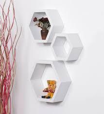 hexagonal modular wall shelf set of 3 in white finish by driftingwood eclectic wall shelves eclectic wall shelves wall art pepperfry