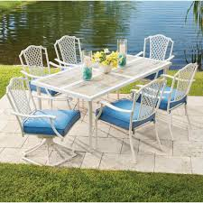 hampton bay alveranda 7 piece metal outdoor dining set with periwinkle cushions