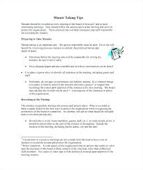 Examples Of Minutes Taken At A Meeting Free Meeting Minutes Template Note Taking In Meetings