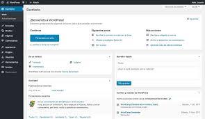 panel de administración de wordpress en español