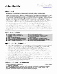 Construction Superintendent Resume Templates Unique Construction Resume Template Fresh Construction Resume Examples New
