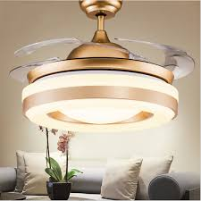 modern simple invisible fan lamp wireless control crystal ceiling fans light retractable 4 blades pendant lamp