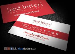 Red Letter Social Media Business Cards Bigbluedesigns