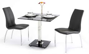 black glass dining table and 2 chairs homegenies