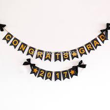 Congrats Grad Banner Graduation Bunting Banner Black And Gold