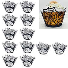 Amazoncom Kangkang At 24 Pcs Halloween Spiderweb Hollow Cupcake Ice