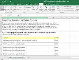 Break Even Template Break Even Analysis Template For Excel